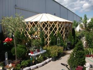 Garden center after yurt is installed