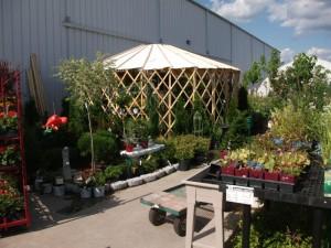 Yurt inside a garden center