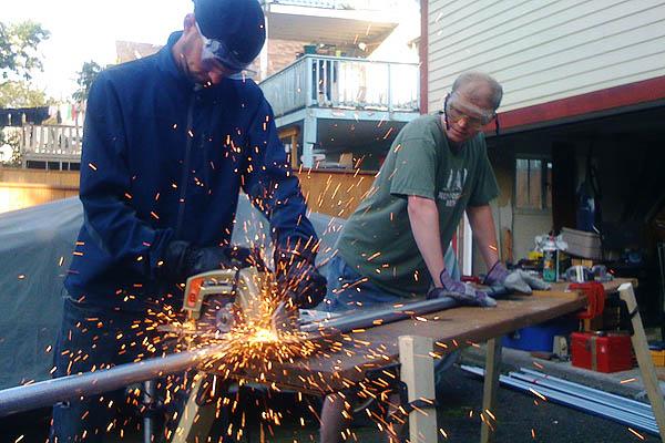 Cutting steel tubing with a circular saw