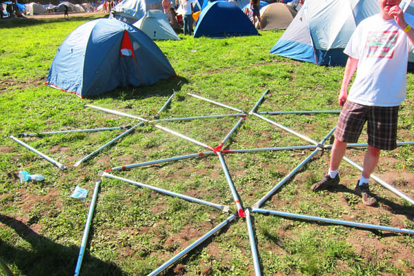 Starting our geodesic dome assembly at Shambhala: