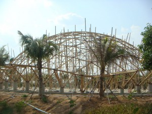 The dome school under construction