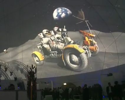 Scenes of the moon missions projected on a geodesic event dome