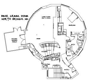 Bear Creek Geodesic Dome home main floor